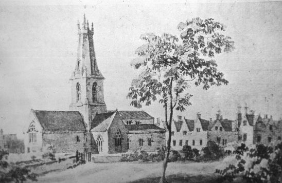 Drawing of Holy Trinity Church and the Manor House