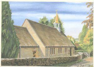 Painting of Box Church by Tony Guy (2006)
